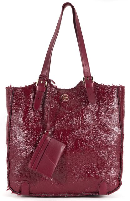 TORY BURCH Burgundy Red Patent Leather Shearling Channing Tote