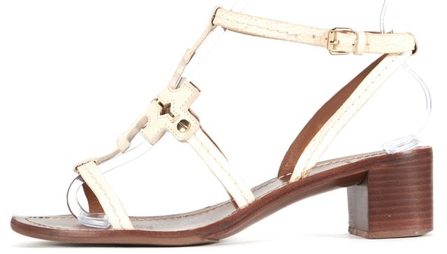 TORY BURCH White Leather T-Strap Sandal Block Heels