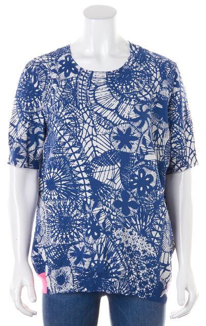 TORY BURCH Blue White Pink Floral Top