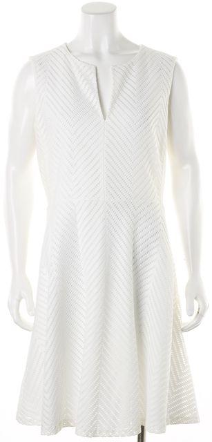 TORY BURCH White Net Overlay Sleeveless Fit Flare Sheath Dress