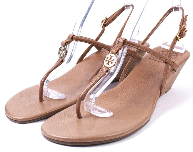 TORY BURCH Royal Tan Brown Leather Emmy Demi Sandal Wedges