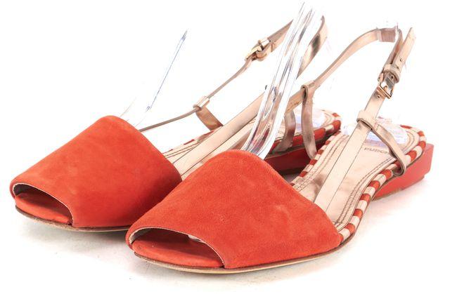 TORY BURCH Orange Gold Suede Pietra Flat Slingback Sandals