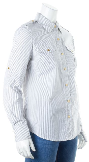 TORY BURCH White Blue Striped Long ROll-Tab Sleeves Button Down Shirt Top
