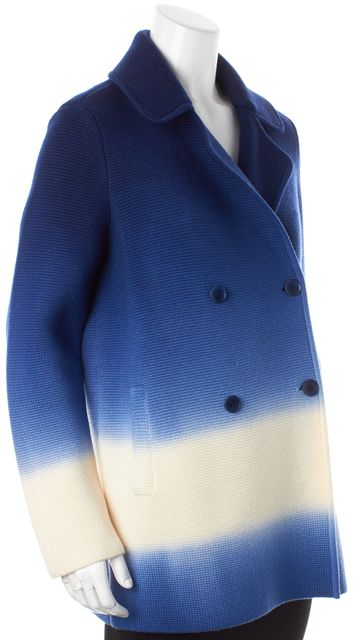 TORY BURCH Blue White Ombre Wool Double Breasted Livingston Sweater Coat