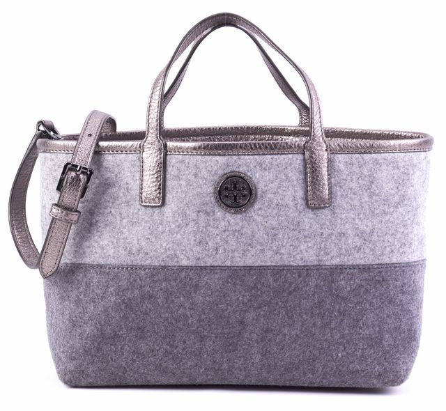 TORY BURCH Gray Wool Colorblock Metallic Leather Strap Satchel Tote Bag
