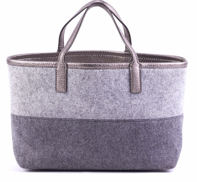 TORY BURCH Gray Wool Colorblock Metallic Leather Strap Satchel Tote Bag