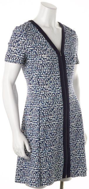 TORY BURCH Blue White Abstract Print Zip Front Short Sleeve Sheath Dress