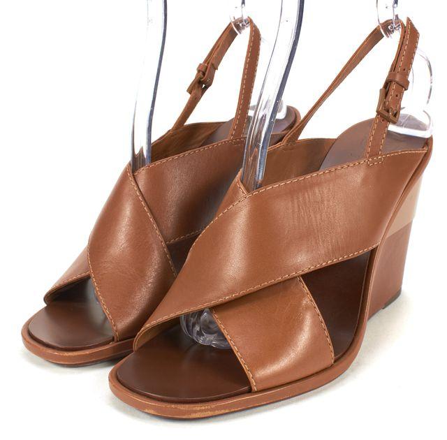 TORY BURCH Tan Brown Leather Slingback Sandal Wedges