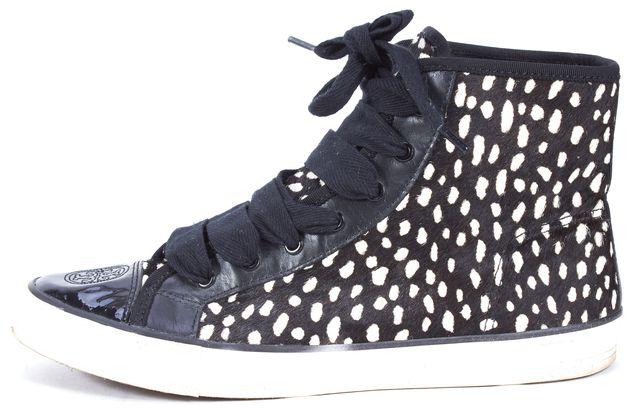 TORY BURCH Black White Animal Print Calf Hair Marin High-Top Sneakers