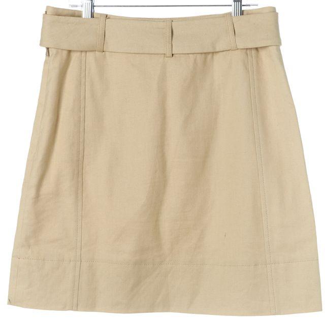 TORY BURCH Beige Linen Belted Above Knee A-Line Skirt