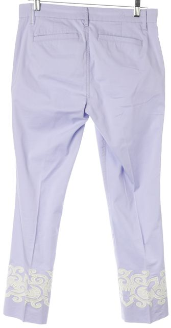 TORY BURCH Lilac White Abstract Appliqué Hem Casual Pants