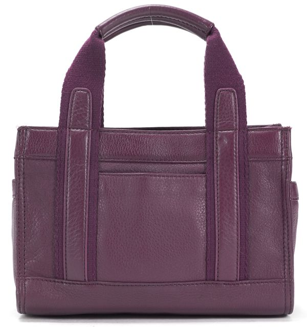 TORY BURCH Plum Leather Canvas Trim Tiny Tory Tote