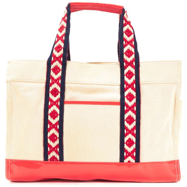 TORY BURCH Beige Pink Navy Blue Crochet Embroidered Canvas Tote