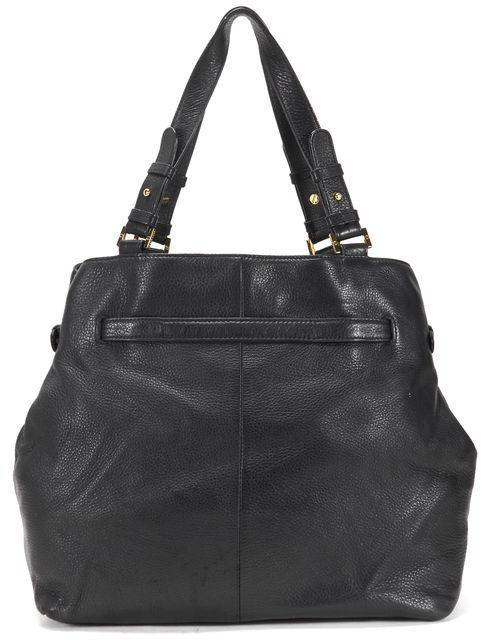 TORY BURCH Black Pebbled Leather Gold-Tone Logo Hardware Shoulder Tote Bag