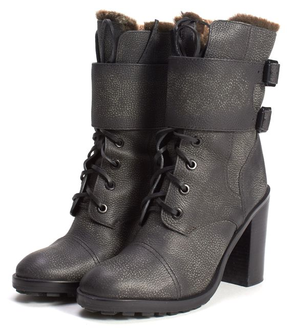 TORY BURCH Gray Leather Broome Shearling Lined Mid-Calf Combat Boots