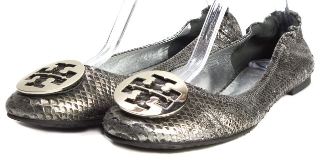 TORY BURCH Metallic Gray Snakeskin Leather Minnie Travel Flats