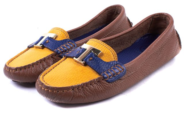 TORY BURCH Brown Yellow Blue Pebbled Leather Casey Loafer Flats