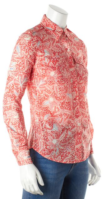 TORY BURCH Pink Blue Floral Cotton Button Down Shirt Top