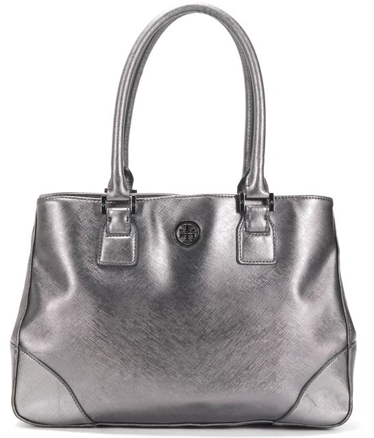 TORY BURCH Metallic Silver Saffiano Leather Shoulder Bag