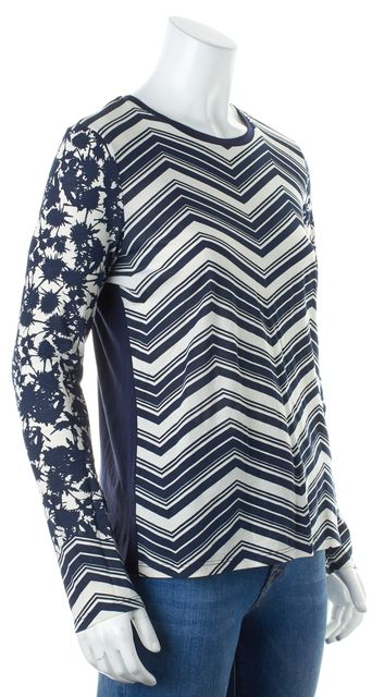 TORY BURCH Navy Blue White Striped Chevron Floral Long Sleeve Tee T-Shirt