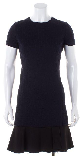 TORY BURCH Navy Blue Black Animal Print A-Line Dress