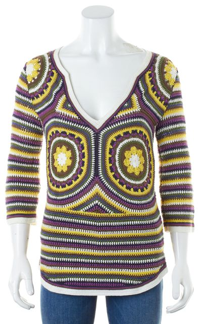 TORY BURCH Multi-Color Cotton Crochet Knit 3/4 Sleeve Tunic Sweater