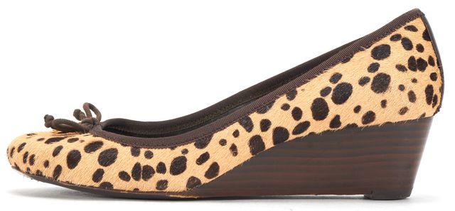 TORY BURCH Beige Brown Leopard Print Calf-Hair Chelsea Wedges