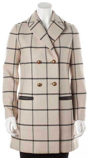 TORY BURCH Beige Black Plaids Long Coat
