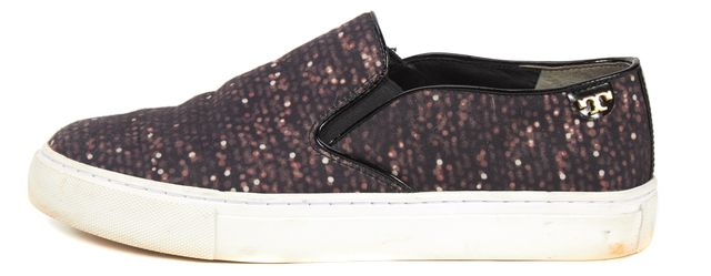 TORY BURCH Black Purple Abstract Textile Slip-On Sneakers