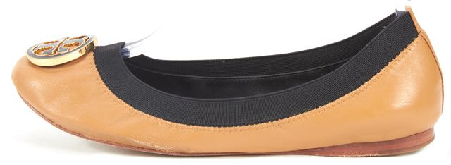 TORY BURCH Tan Brown Navy Blue Leather Caroline Ballet Flats