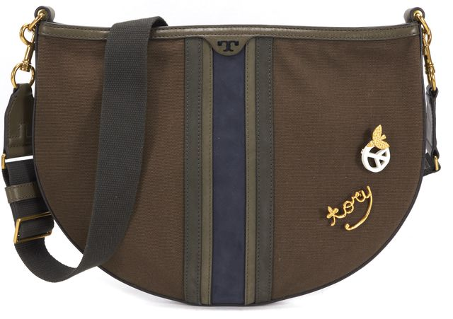 TORY BURCH Army Green Brown Canvas Leather Combo Semi-Circle Hobo Bag
