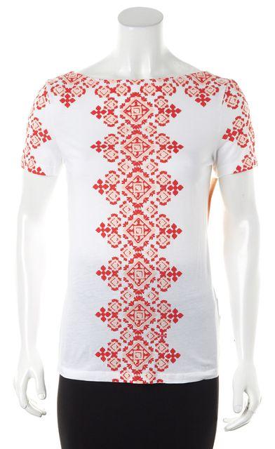 TORY BURCH White Tiger Lily Geo Puff Aberra Basic T-Shirt