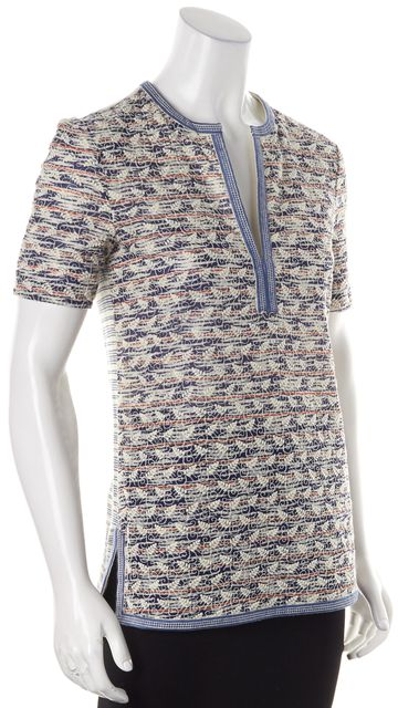 TORY BURCH Blue Red White Leaf Embroidered Blouse Top