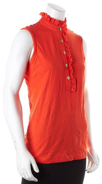 TORY BURCH Orange Sleeveless Lidia Polo Knit Top