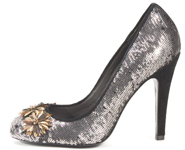 TORY BURCH Silver Bronze Sequin Floral Round Toe Pumps