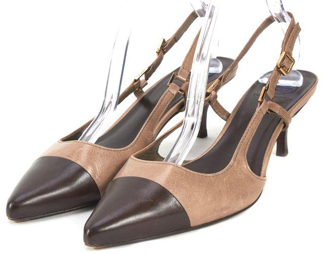 TORY BURCH Brown Black Color Block Leather Slingback Heels