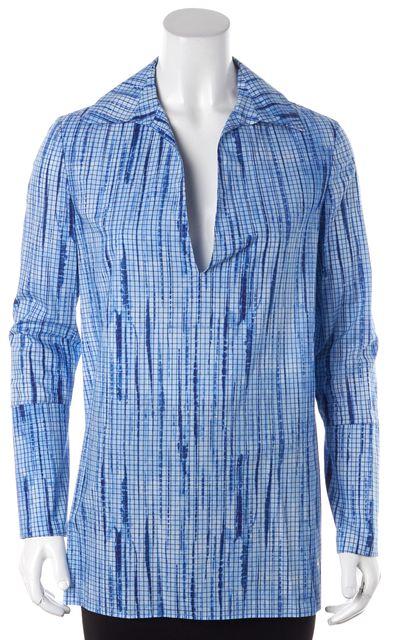 TORY BURCH Blue Gridlock Cotton Long Sleeve Tunic Blouse