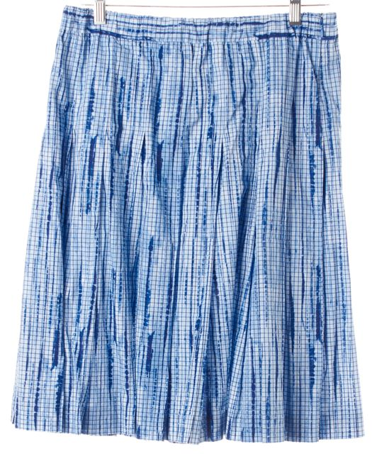 TORY BURCH Blue Tie-Dye Check Cotton Knee-Length Pleated Skirt