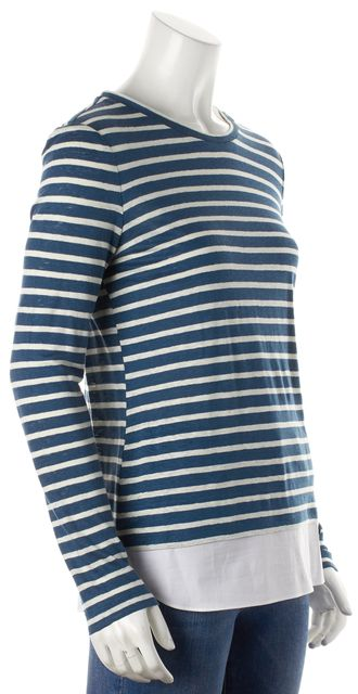 TORY BURCH Blue White Striped Linen Knit Top