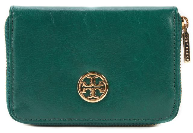 TORY BURCH Green Leather Zip Around Card Case