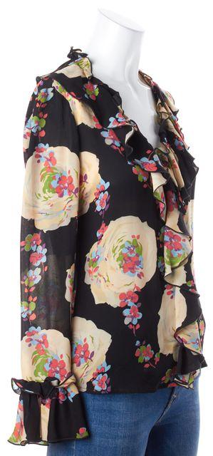 TORY BURCH Black Floral Silk Blouse