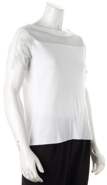TORY BURCH White Cotton Perforated Leather Trim Short Sleeve Knit Top