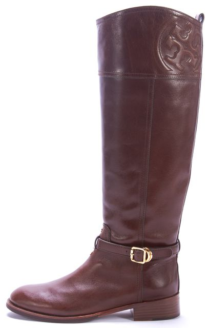 TORY BURCH Brown Leather Gold Embellished Tall Knee-high Riding Boot