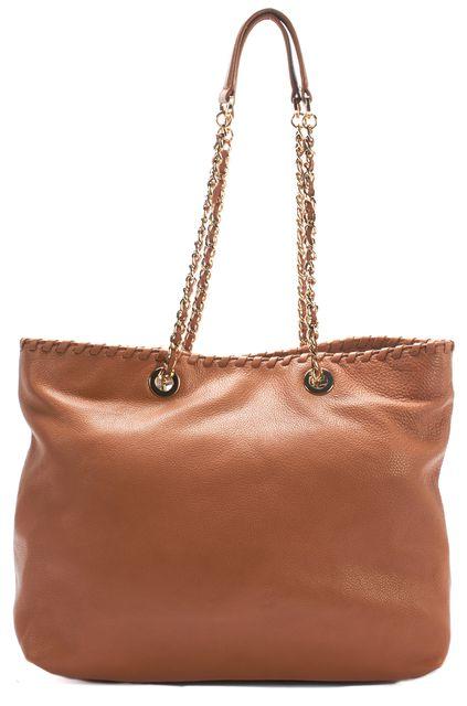 TORY BURCH Beige Gold Embellished Leather Shoulder Bag