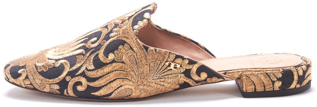 TORY BURCH Antique Gold Black Ornate Brocade Embroidered Slip-On Mules