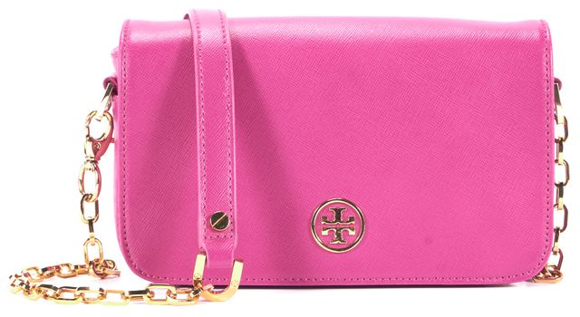 TORY BURCH Pink Saffiano Leather Gold Chain Crossbody Shoulder Bag