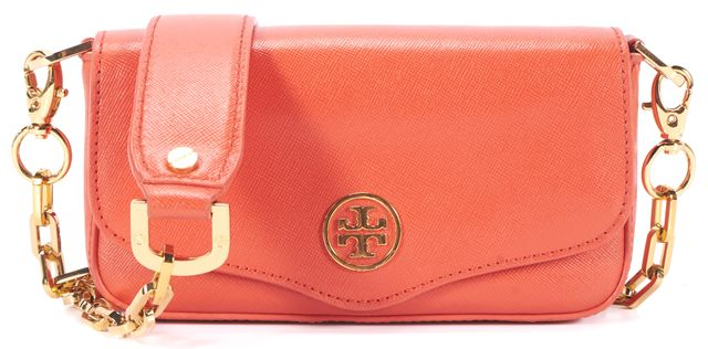 TORY BURCH Orange Saffiano Leather Gold Chain Crossbody Shoulder Bag
