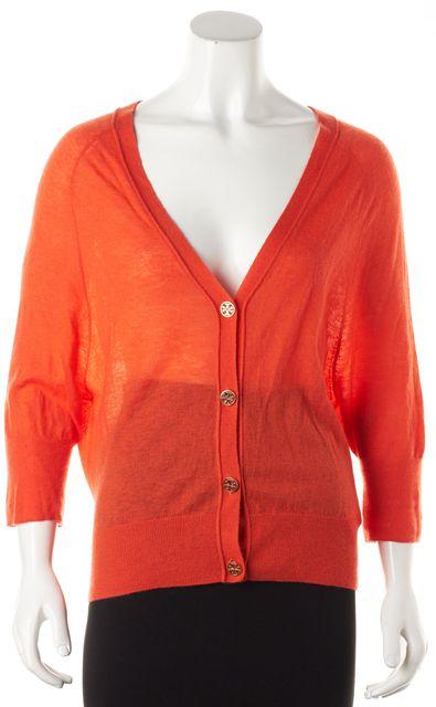 TORY BURCH Orange Cashmere Cardigan Sweater