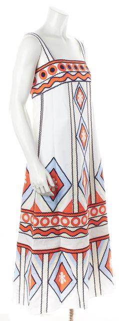TORY BURCH White Multi-Color Geometric A-Line Dress