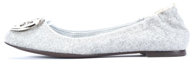 TORY BURCH Gray Wool Silver Toned Logo Ballerina Flats